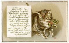 Vintage Christmas Image – Kitty with Holly – Gift Tags