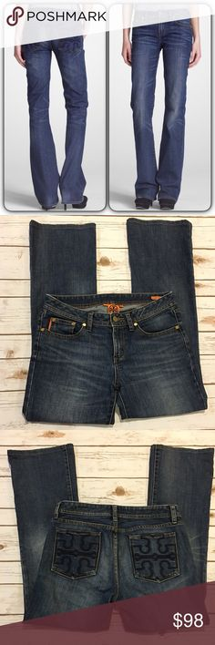 """Tory Burch Boot Cut Jeans Worn twice. Like new condition. 98%cotton 2%spandex, embroidered logo on rear pockets, gold logo button and studs on front pockets, distressing on front and back hem, inseam 28"""". Front rise 9"""". Reasonable offers considered through offer button only Tory Burch Jeans Boot Cut"""