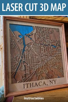 Laser cut a 3D map with special significance to you.  #Instructables #workshop #decor #woodworking #art Dremel Sander, House Projects, Art Projects, Thin Plywood, Laser Cutter Ideas, Street Image, Writing Programs, Blue Stain