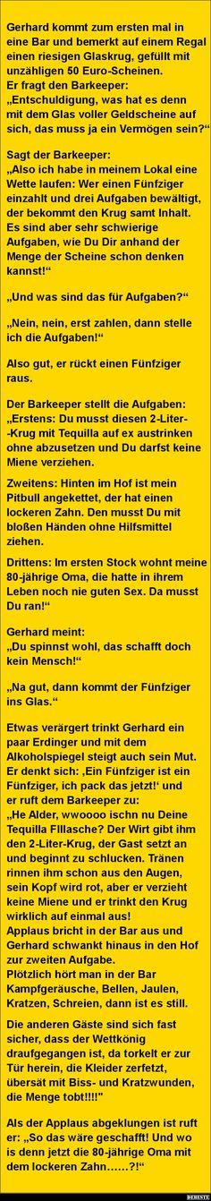 Gerhard kommt zum ersten mal in eine Bar und bemerkt.. | Lustige Bilder, Sprüche, Witze, echt lustig