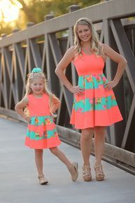 River Island in Neon Coral w/Mint - Be Inspired Boutique. The cutest little boutique where you can buy mommy and me dresses! Mom And Baby Outfits, Mother Daughter Matching Outfits, Mother Daughter Fashion, Mommy And Me Dresses, Twin Outfits, Matching Family Outfits, Little Girl Dresses, Kids Outfits, Cool Outfits