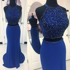 Royal Blue Jersey with Rhinestone Beaded 2 Pieces
