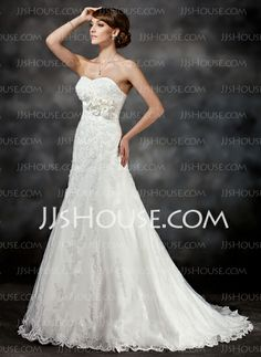 Wedding Dresses - $189.99 - Sheath/Column Strapless Court Train Satin Tulle Wedding Dresses With Lace Beadwork (002017416) http://jjshouse.com/Sheath-Column-Strapless-Court-Train-Satin-Tulle-Wedding-Dresses-With-Lace-Beadwork-002017416-g17416