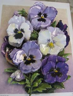 decoupage or paper tole. Silicone between layers for lift and dimension. Seal paper with decoupage Glass Flowers, Ceramic Flowers, Paper Flowers, Ceramic Pottery, Ceramic Art, Paper Art, Paper Crafts, Decoupage Paper, Flower Making
