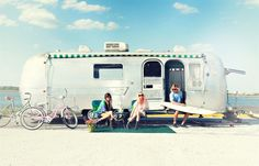 summer living ❥ biking, surfing, water, friends, and airstream trailer
