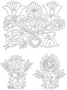 I have been so busy lately but I was able to get my hands on some fun Folk Art Embroidery to share. They don't look as nice in black and white as they do when they are all completed in different colors. Hungarian Embroidery, Paper Embroidery, Learn Embroidery, Crewel Embroidery, Cross Stitch Embroidery, Embroidery Patterns, Machine Embroidery, Embroidery Files, Motif Floral