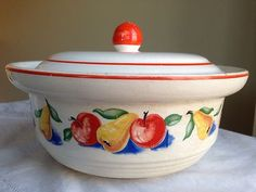 Vintage Harker Pottery Hotoven Apple Pear Small Casserole Dish w Colored Stamp | eBay