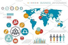 Business world map infographic. Infographic Elements