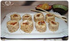 sushis falsos com pao de forma e recheios variados