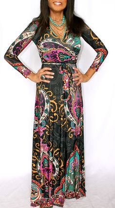 TAJ MAHAL TATOO PAISEY LONG SLEEVE STRETCH KNIT MAXI DRESS PINK ORANGE