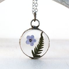 Real forget me not - terrarium necklace - real flower jewelry - real plant pendant - minimalist jewelry - rustic pendant - bohemian necklace by JolieGlace on Etsy