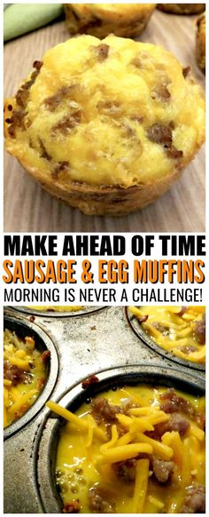sausage and egg muffins recipe make ahead of time for a quick morning breakfast solution breakfast eggs muffins sausage recipes # Healthy Breakfast Muffins, Sausage Breakfast, Best Breakfast, Morning Breakfast, Egg Muffin Breakfast, Egg Muffin Cups, Egg Cups, Breakfast Dishes, Breakfast Casserole