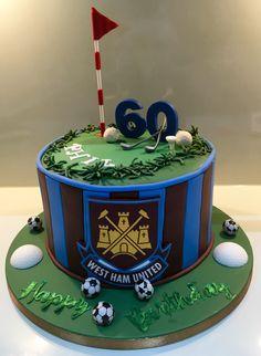 40 Birthday, Birthday Cakes, Graham Cake, Football Cakes, Cupcake Cakes, Cupcakes, Dad Cake, Gifts For Golfers, West Ham