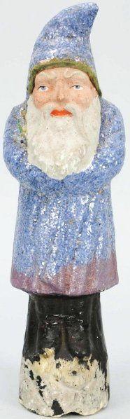 "Belsnickle Paper Mache Santa with Blue Coat, 10 1/2"" $ 550"