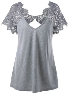 Plus Size Cutwork Lace Trim T-Shirt - GRAY XL