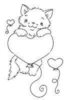 Sliekje digi Stamps: Kitten with hearts