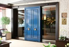 Per Se NYC Restaurant Review-Entrance Faux blue lacquer doors flanked by sliding partitions in glass