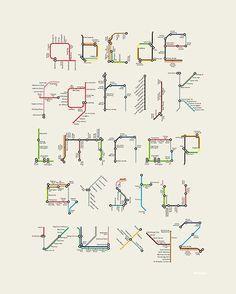 Olha só que legal esse alfabeto feito como se fossem linhas de Metrô =)