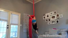 Aerial Silks - Crossback Straddle variations - great variations but it worries me how close she is to the walls haha