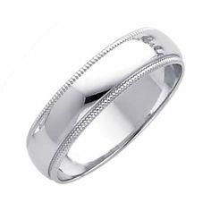 14K White Gold 5mm Plain Milgrain Wedding Band Ring for Men Women (Size 4 to 12)