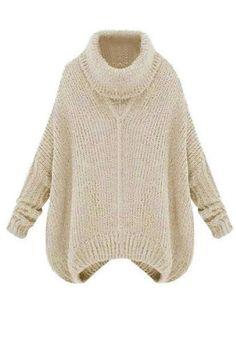 Beige Turtleneck Sweater - Long Sleeves Knit Sweater