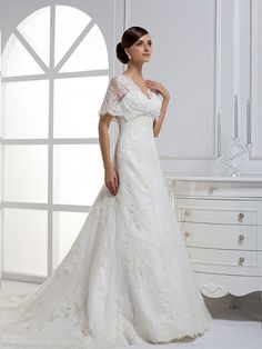 V-neck A-line fashionable bridal gown
