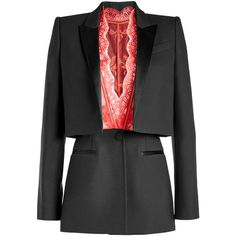 Tailored Tuxedo Blazer Alexander McQueen (€3.005) ❤ liked on Polyvore featuring outerwear, jackets, blazers, red tuxedo jacket, blazer jacket, one-button blazer, tailored jacket and dinner jacket