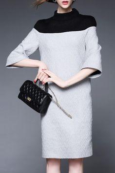 Turtleneck Textured Sweater Dress