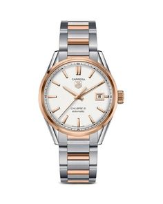 Tag Heuer Carrera Calibre 5 Stainless Steel and 18K Rose Gold Watch, 39mm
