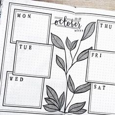 Bullet journal weekly layout, plant drawing, simple and clean bullet journal layout. @sushi__studies #fitnessjournal,