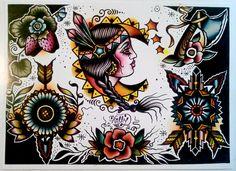 Native American Tattoo Flash Folk Art Print By Holly Danesi by EgoSumNauta on Etsy https://www.etsy.com/listing/120937174/native-american-tattoo-flash-folk-art