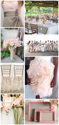 Khaki + Blush -- Move over frumpy uniforms! Khaki is taking over the wedding world. Khaki color schemes are classic, elegant and, and inviting.