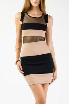 Striped Colorblock Mesh Dress