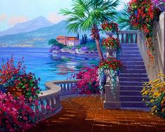 Seascape Paint by Number Kit Landscape DIY painting on canvas paint coloring by number DIY Gift Paintings for Adult Decor idea by on Etsy Seascape Paintings, Oil Painting On Canvas, Diy Painting, Landscape Paintings, Mediterranean Art, Tuscany Landscape, Tile Murals, Am Meer, Paint By Number