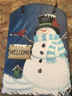 Maryann's snowman painted on slate from hobby lobby