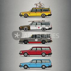 """A Stack of Volvo 245 Wagons"" Picture art prints and posters by monkeycrisisonmars - ARTFLAKES.COM"