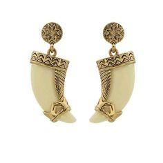 Cream Resin Tribal Horn Earrings
