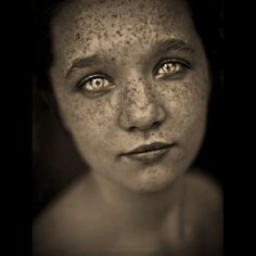 incredible, striking eyes, freckles, young girl