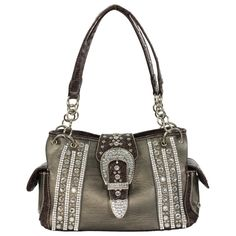 Women's Rhinestone and Buckle Handbag
