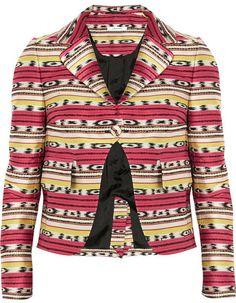 Carven Striped cropped cotton-blend jacquard jacket on shopstyle.com