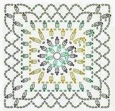 54 Ideas crochet tutorial granny square hooks for 2019 Crochet Mandala Pattern, Crochet Square Patterns, Granny Square Crochet Pattern, Crochet Diagram, Crochet Squares, Crochet Blocks, Crochet Borders, Crochet Wool, Crochet Pillow