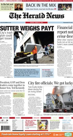 The front page of The Herald News for Tuesday, March 31, 2015. #fallriver