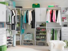 A white, wooden storage system is a great backdrop for a colorful wardrobe. This closet is light and airy, which is very welcoming in the mornings. Photo courtesy of ClosetMaid