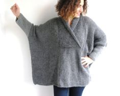 Plus Size Gray Hand Knitted Sweater - Tunic