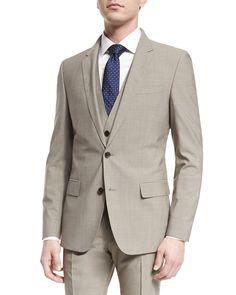 Huge Genius Slim Houndstooth Three-Piece Wool Suit, Tan, Men's, Size: 48R (38R US) - Boss Hugo Boss