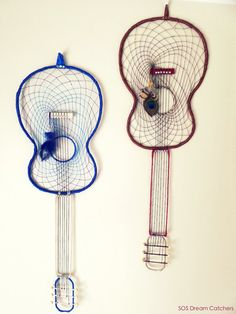 Large Acoustic Guitar Dream Catcher [Last 2 - BLUE]