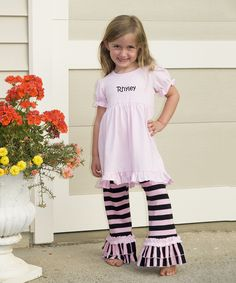 Pink & Black Initial Ruffle Top & Pants - Infant, Toddler & Girls