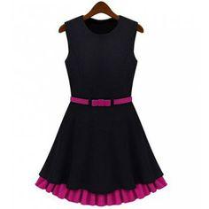 Elegant Scoop Neck Sleeveless Color Block Ruffle Dress For Women, BLACK, L in Dresses 2014 | DressLily.com