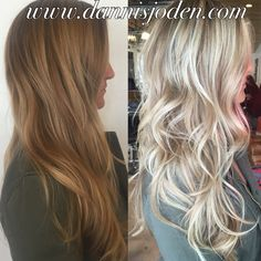 Victoria's Secret blonde balayage and messy beach waves. Hair by Danni in Denver, CO