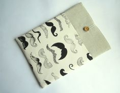 Mustache MacBook sleeve 13 with pockets MacBook Pro by LinenSleeve, $24.00